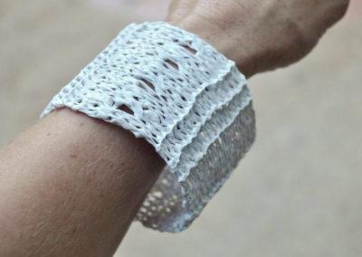 White plastic knitted bracelet